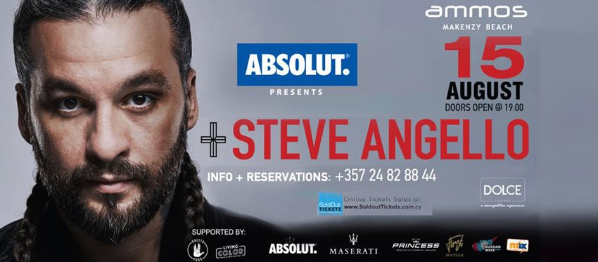 ABSOLUT presents STEVE ANGELLO Live Wed 15 August